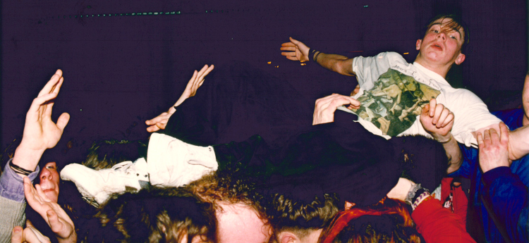 Stage diver at Senseless Things gig 16.02.93 (CREDIT Richard Chambury)